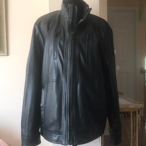 Mens Calvin Klein Black Faux Leather bomber Jacket